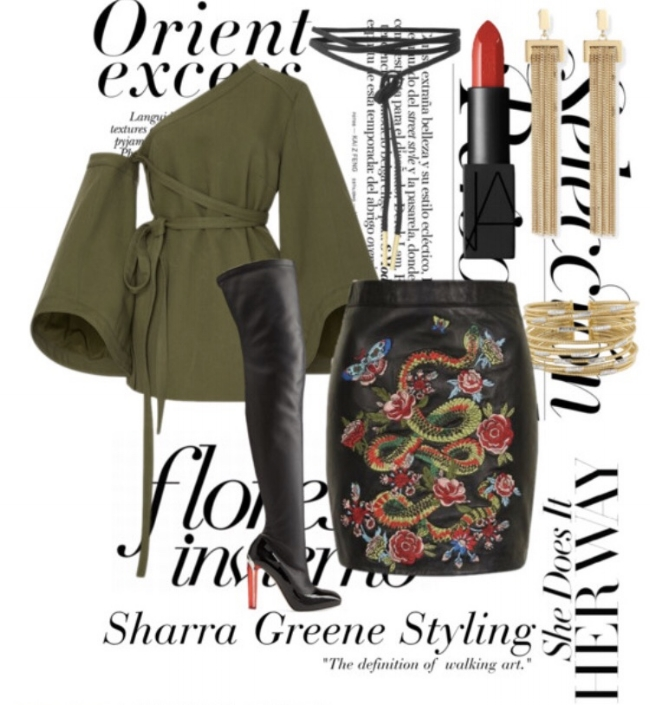 Shop a similar look:  army green off shoulder blouse ,  faux leather mini skirt with floral embroidery ,  gold fringe earrings ,  black lace up choker ,  bangles ,  thigh high boots .