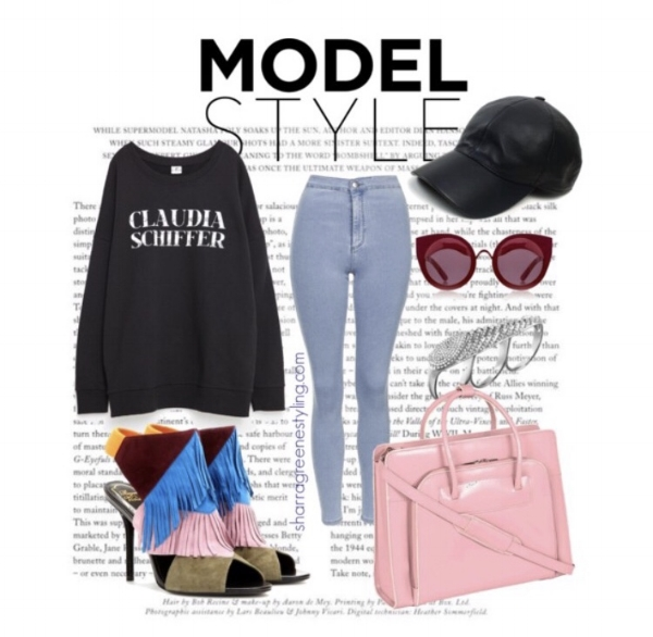 Shop a similar look:  Claudia Schiffer Sweatshirt ,  High Waist Light Wash Denim ,  colorful fringe heels ,  matching handbag ,  bubblegum pink handbag ,  faux leather baseball cap ,  circle frame shades ,  three-finger ring .