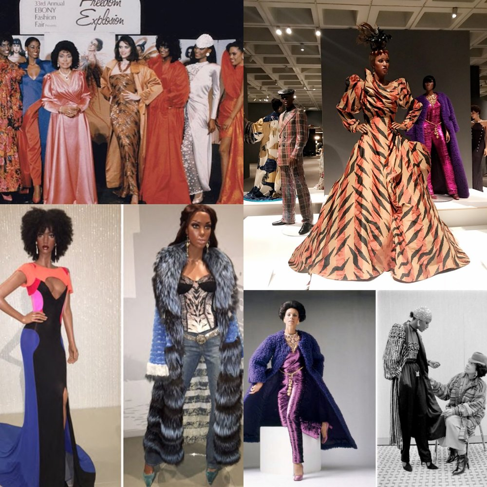 Eunice Walker Johnson's Ebony Fashion Fair exhibit, highlighting black up and coming designers of her time.