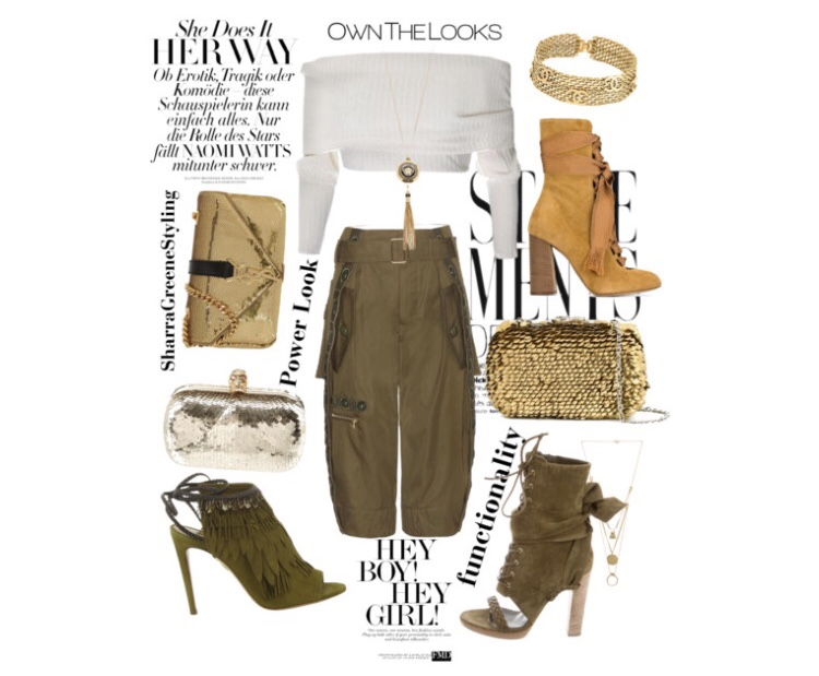Shop a similar look  : bardot top,  cargo pants ,  gold bag ,  ankle boots ,  necklace .