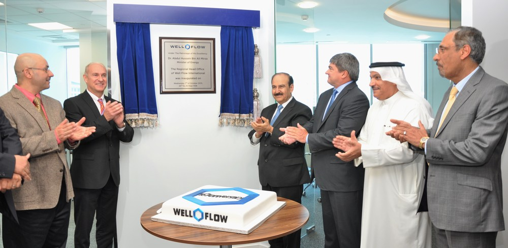 Left to Right Mr. Hisham zubari, Deputy CEO of Tatweer Petroleum; Mr. Andrew Kershaw, CEO of Tatweer Petroleum; His Excellency Dr. Abdul Hussain bin Ali Mirza, The Minister of Energy; Mr. Paul A. Bell, President and CEO of Group 42; Dr. Ahmad Al-Sherian, General Secretary of the National Oil & Gas Authority (NOGA); Mr. Hassan Radhi, Exploration & Production Manager At BAPCO