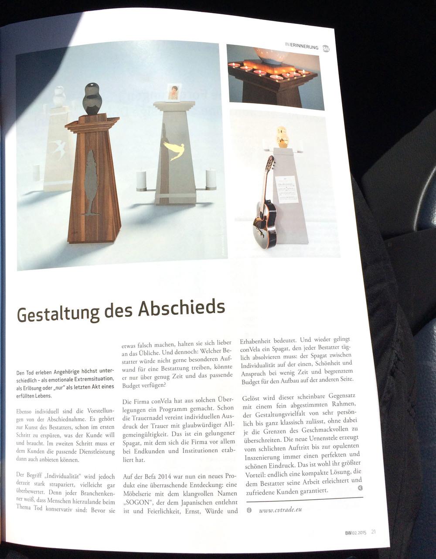"""Artikel in der neuesten Ausgabe der """"BestattungsWelt"""" 02.2105"""