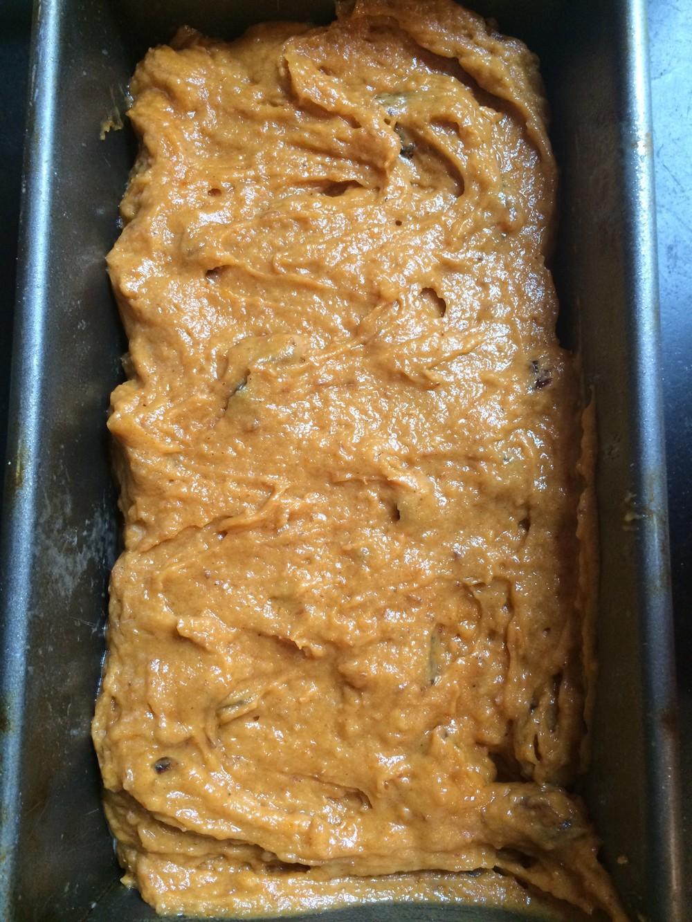 unbaked pumpkin bread