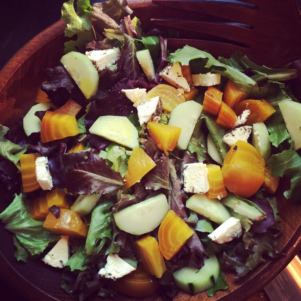 Generic Image of Random Summer Salad with beets, mozzarella cheese and more.