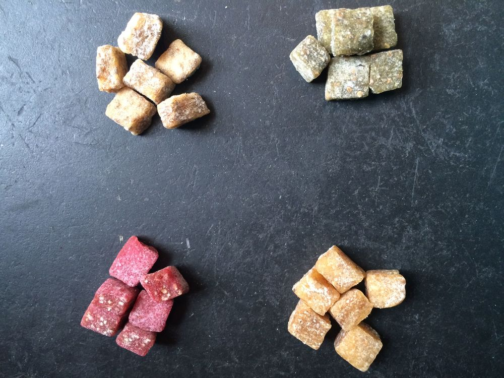 Bonga Foods Chia Superfood Chews, clockwise, from top left: Sweety Potato, Groovy Green, Yummy Yellow and Ruby Red.