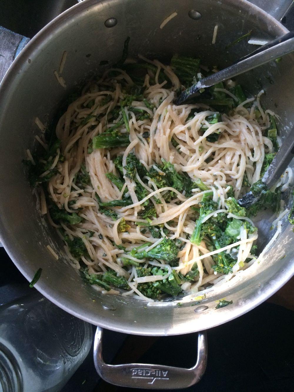 Spaghetti with Ricotta and Double Broccoli. Ta da!