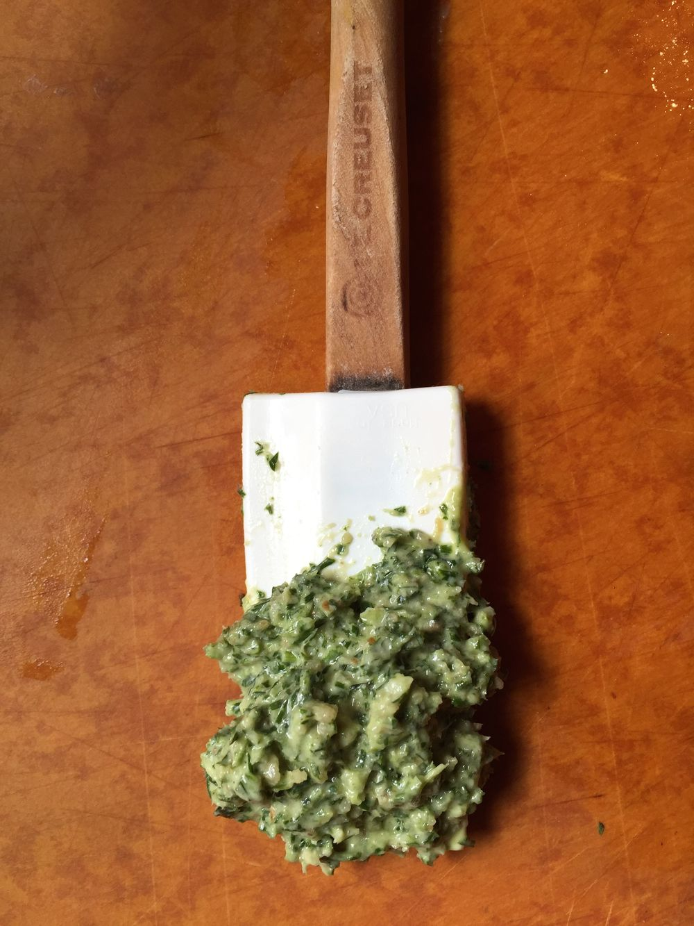 Carrot Top and Garlic Scape Pesto.