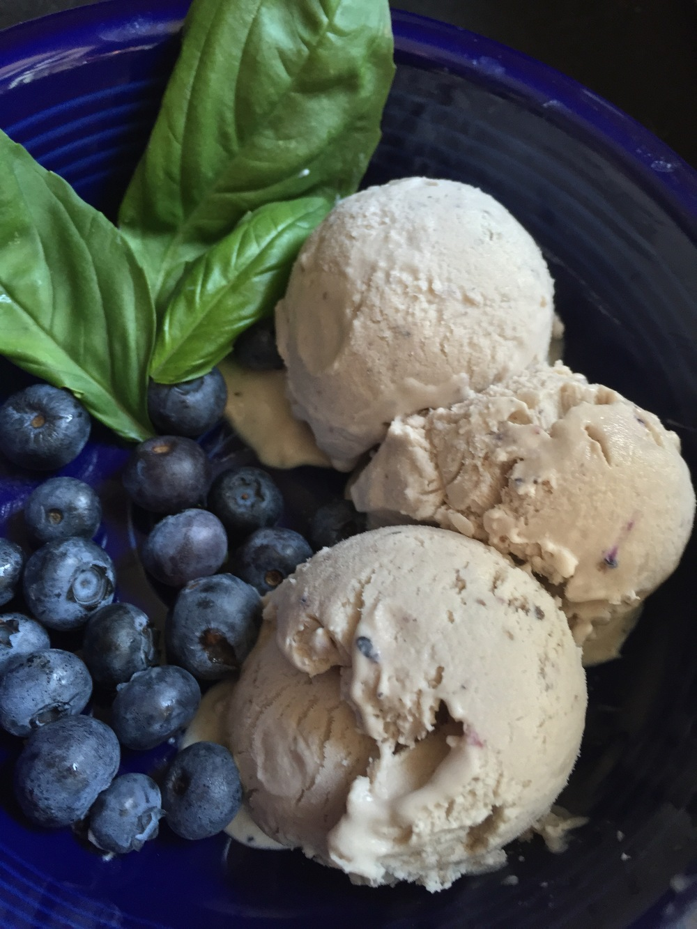 The finished product, styled very informally: triple berry basil ice cream