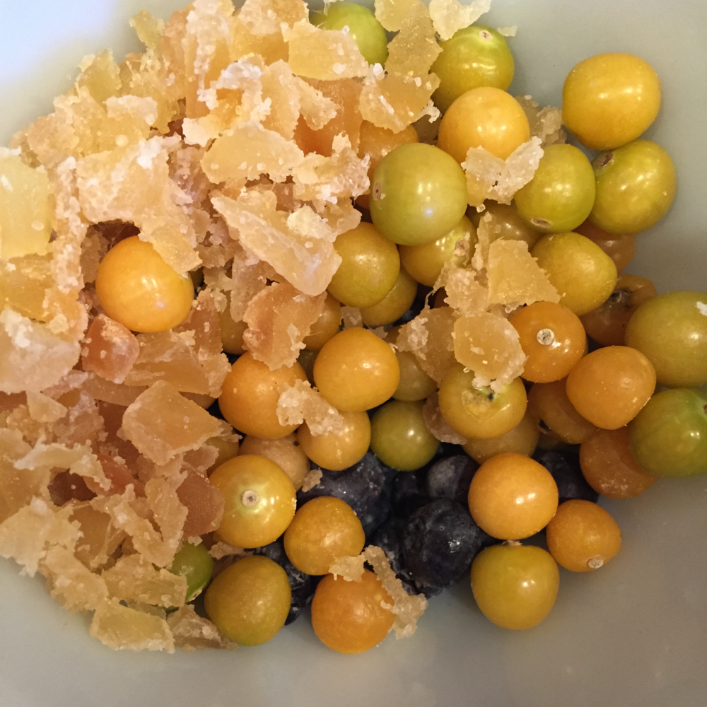 Crystallized ginger, ground cherries and blueberries, which are peeking up from underneath.
