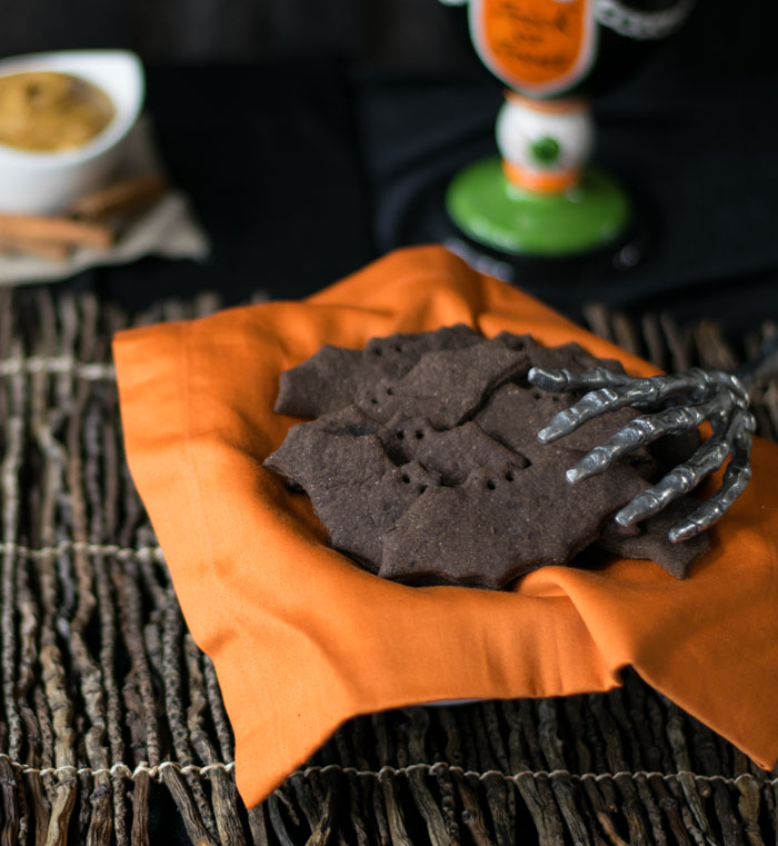 Creepy Bats and Cats Chocolate Graham Crackers. Photo by Kathy Hester.