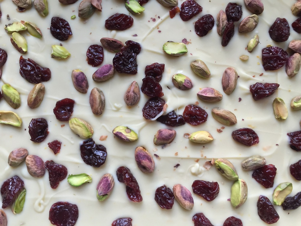 Pistachio, cherry and white chocolate bark. The colors of Christmas. Right there. Edible.