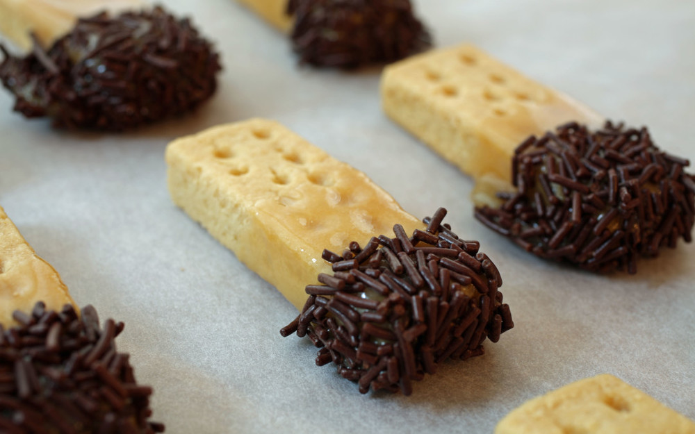 Caramel Dipped Shortbread Cookies with Chocolate Sprinkles. Photo and recipe courtesy of Matthew Robinson/the Culinary Exchange.