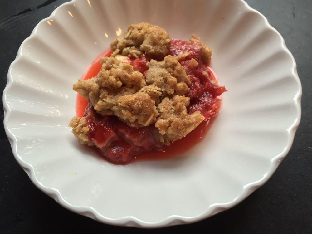 Ta-da! Strawberry rhubarb crumble. The fresh ginger really sets it over the edge. In a good way.