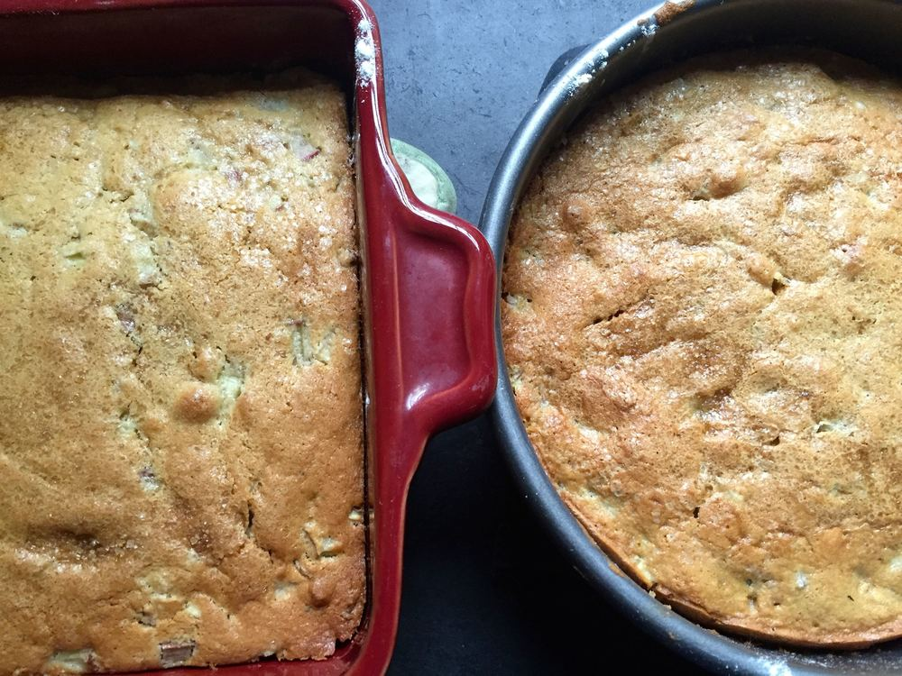 Unfussy rhubarb ginger cake. It doesn't look like much but don't let the appearance fool you!