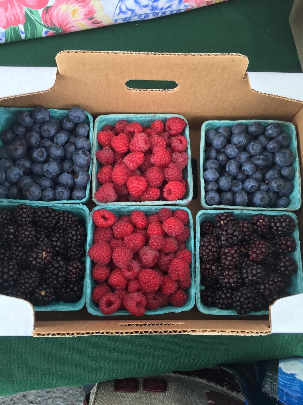 Boysenberries, blueberries, raspberries from  Port Townsend, Washington Farmers' Market .