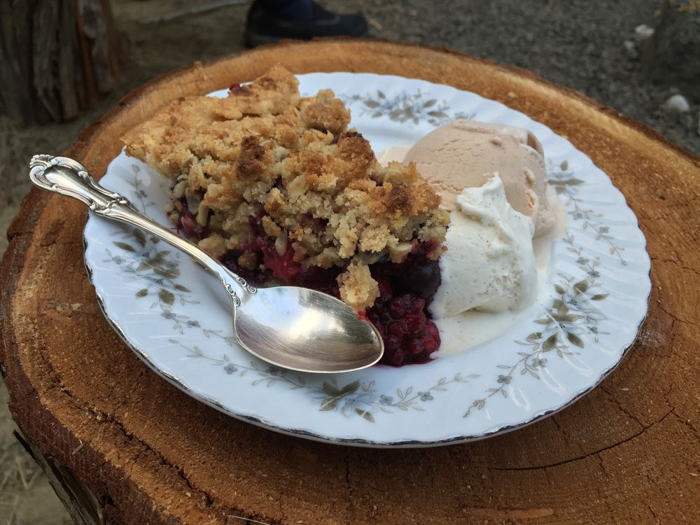 Four berry pie, served here with local Snoqualmie ice cream—Danish vanilla bean and a honey cinnamon. Yum!