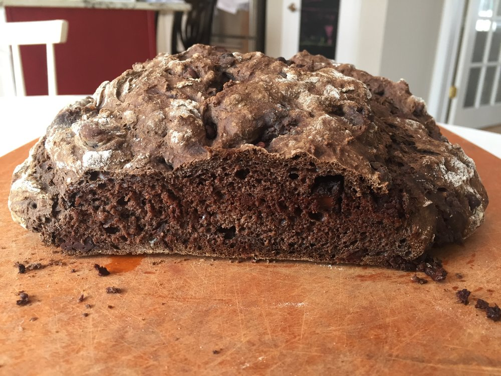 """Black"" Irish Soda Bread with Chocolate. Utterly untraditional but utterly delicious."