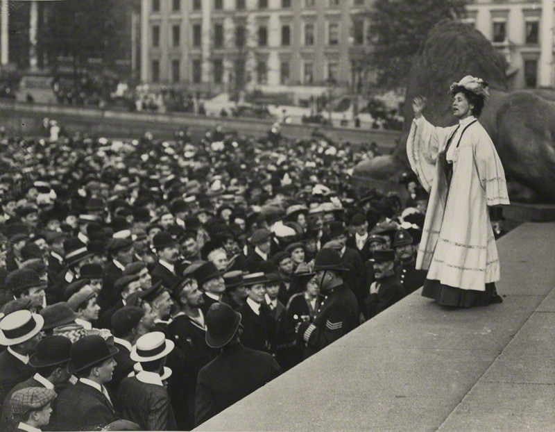 NPG x131784; Emmeline Pankhurst addressing a crowd in Trafalgar Square by Unknown photographer, printed by  Central Press