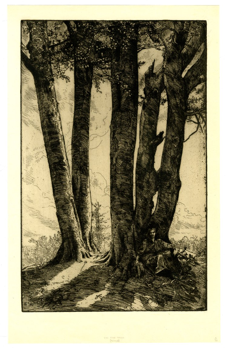 The Five Trees, print by charles holroyd