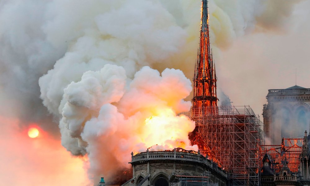Smoke and flames rise during the fire at Notre-Dame Cathedral in Paris. Photograph: François Guillot/AFP/Getty Images