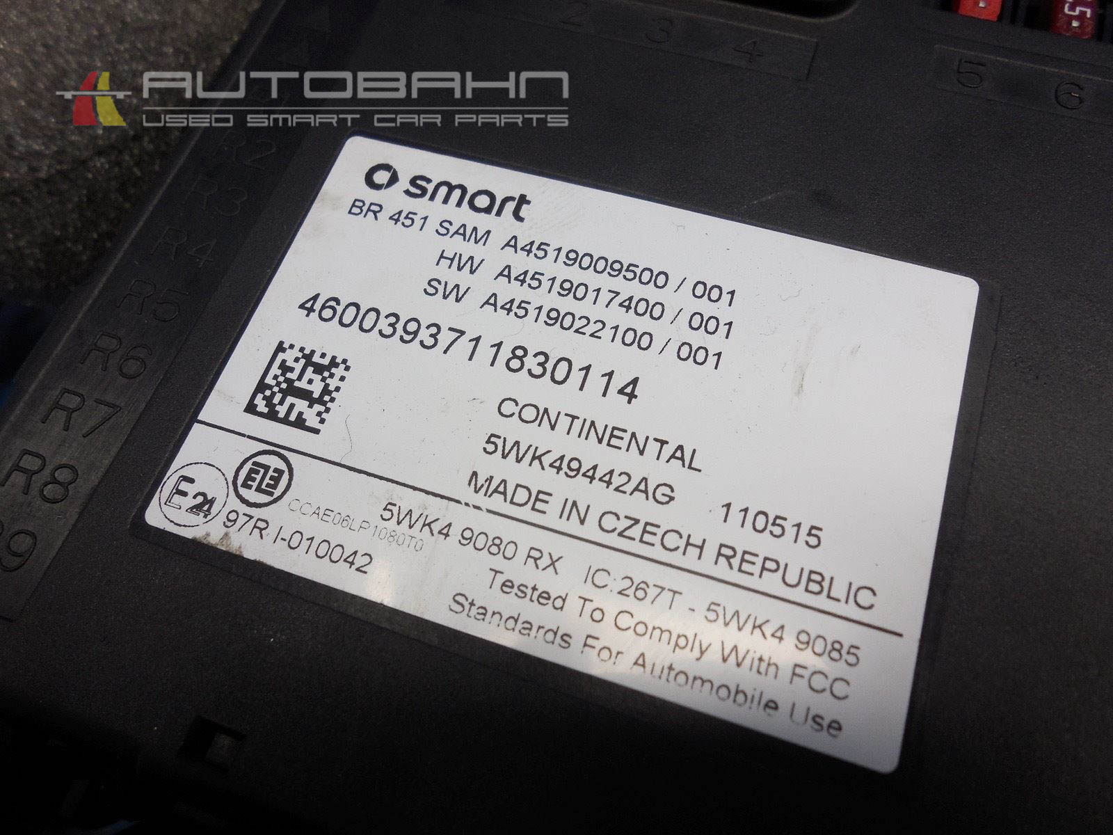 fortwo passion pure (2008-2015) oem complete fuse box-relay board 07