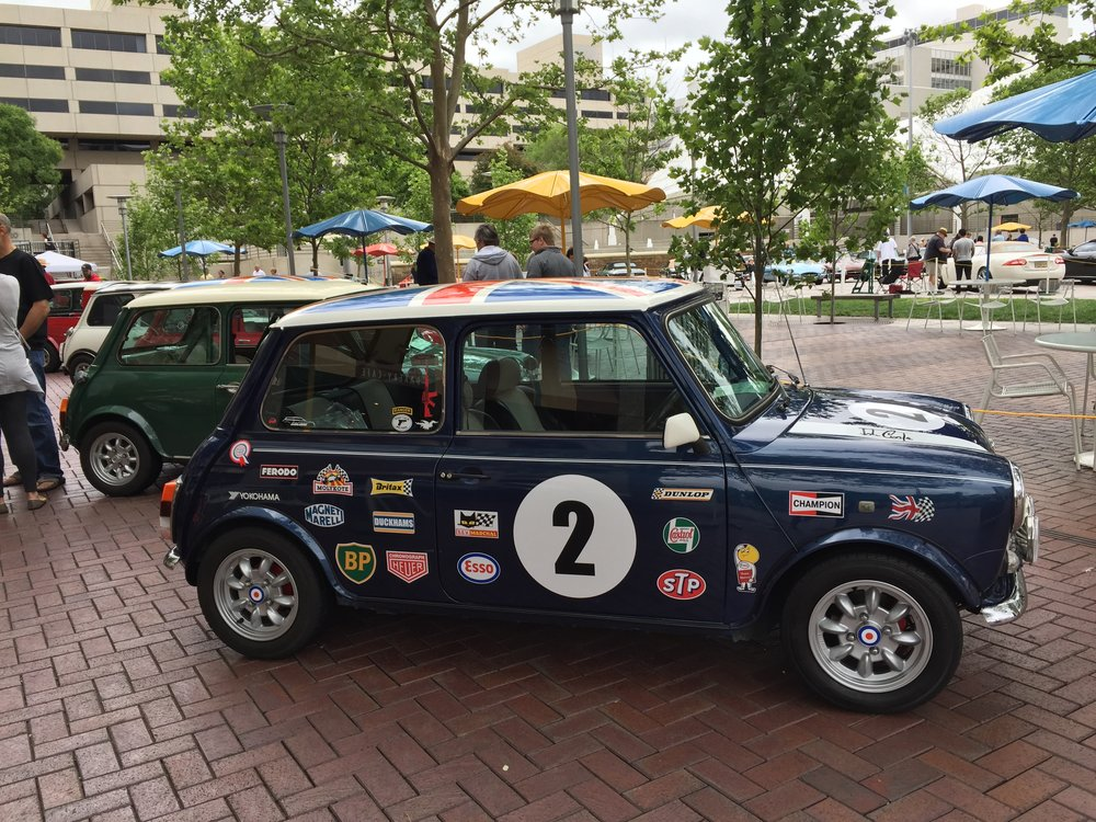 Walks out of hotel, sees favorite car. The original Mini Cooper, on display in front of Kansas City's Crown Center.