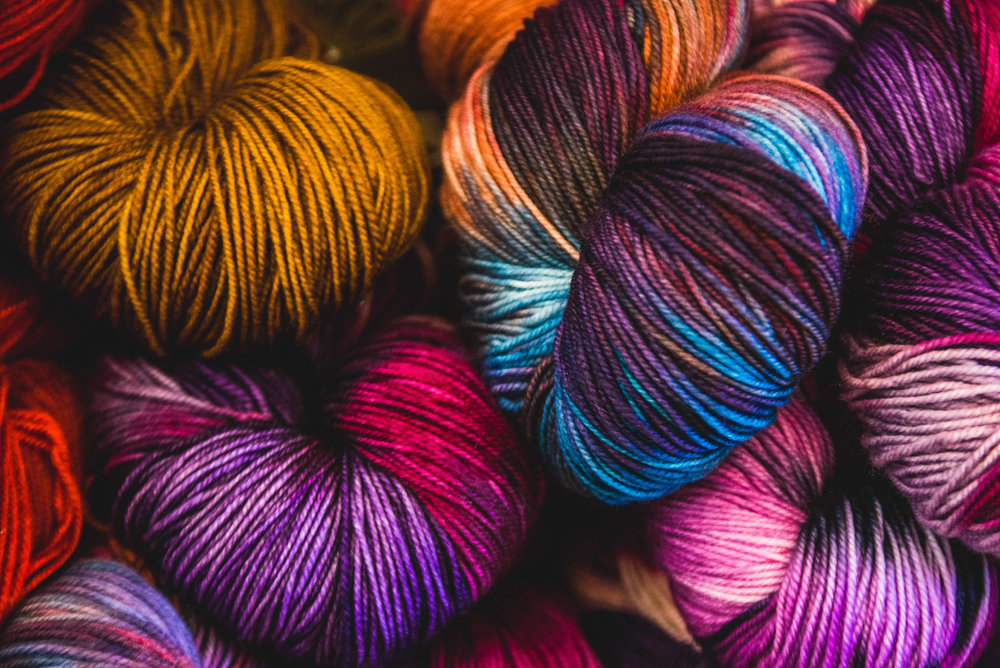 Artfully dyed yarns.