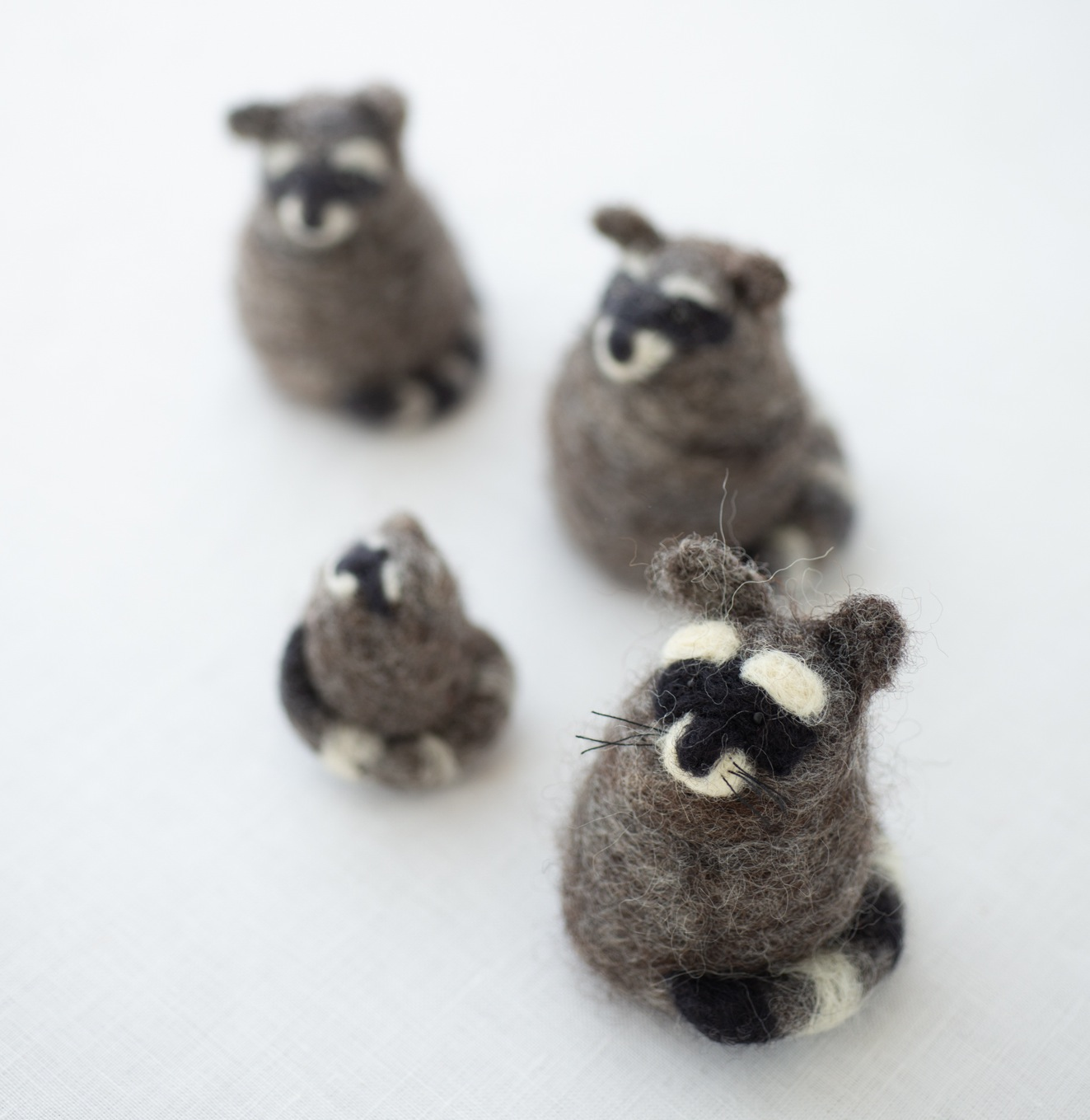Mother/'s Day Felting Supplies Rabbit and Raccoon on Rope Needle Felting Kits