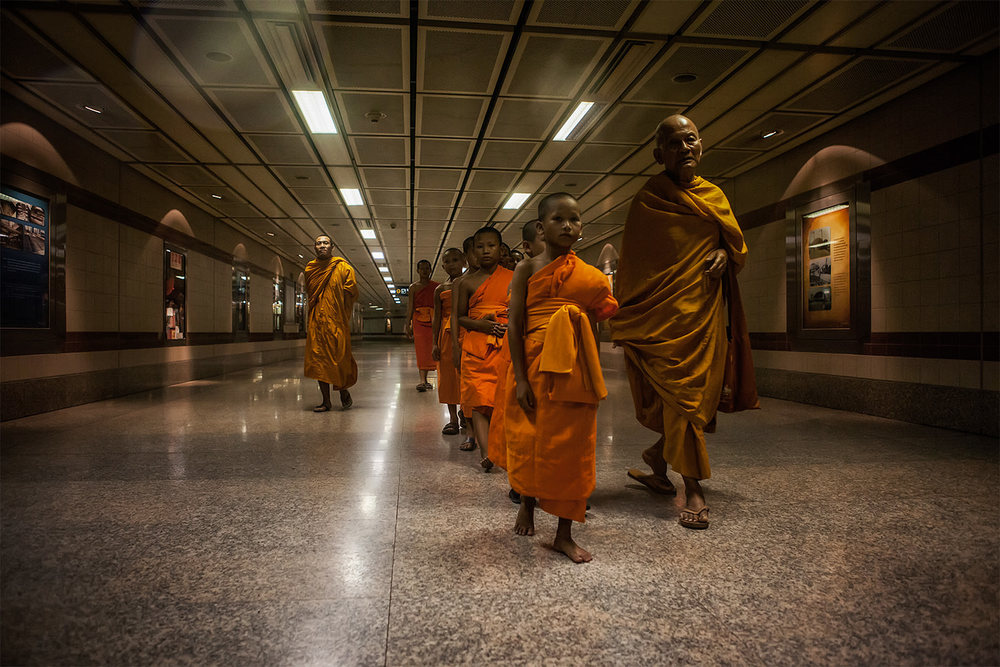 Monks in the Bangkok subway. Thailand