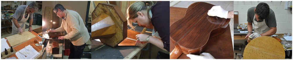 Students French polishing on courses in Lincoln.