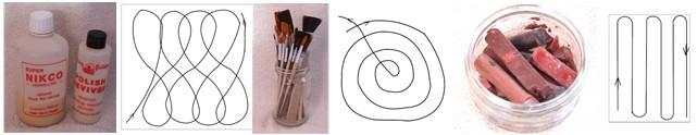French polishing shellac sticks, burnishing cream, mops and brushes