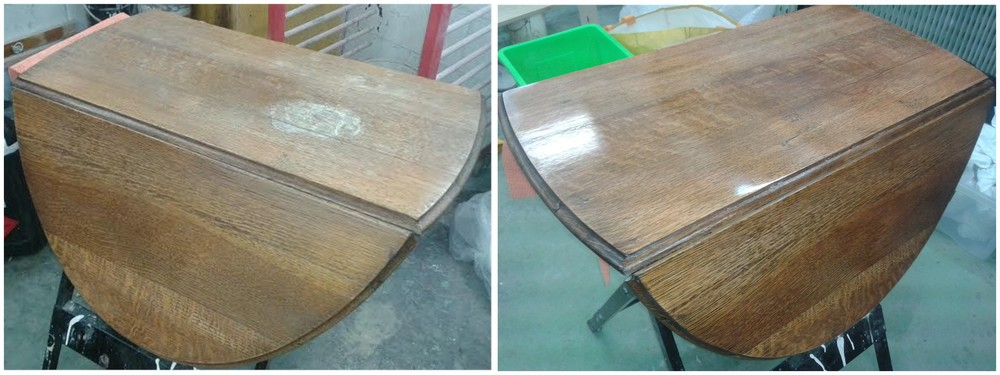 Oak gateleg table top with severe water mark damage, shown before and after French polishing to obtain a satin lustre finish.