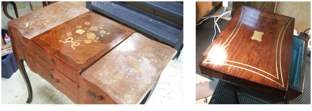 above: Central marquetry panel restored, and first sealing coat applied Rosewood box after first 'bodying' stage of French polishing