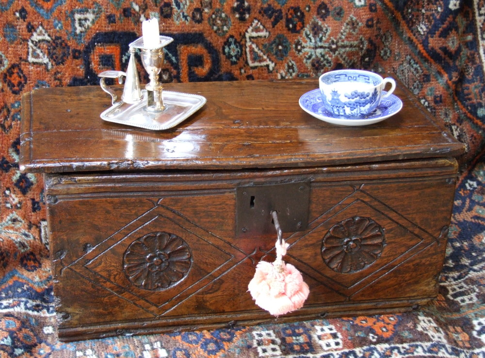 We can restore your antique furniture, re-French Polishing, Waxing or Oiling as appropriate for the style and period of the piece.  The 17th century oak document box above has been cleaned and re-waxed, true to its original finish.