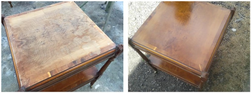 Top with extensive water mark damage shown before and after removing water damage