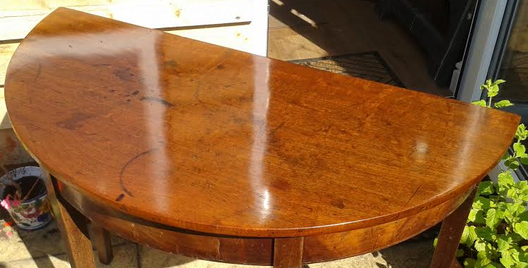 above: Mahogany side table after two 'bodying up' sessions on the top