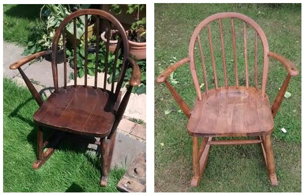 Sonia's rocking chair before and after cleaning and polishing