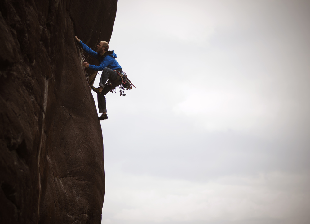 Dom Bush on the first ascent of Whale Song