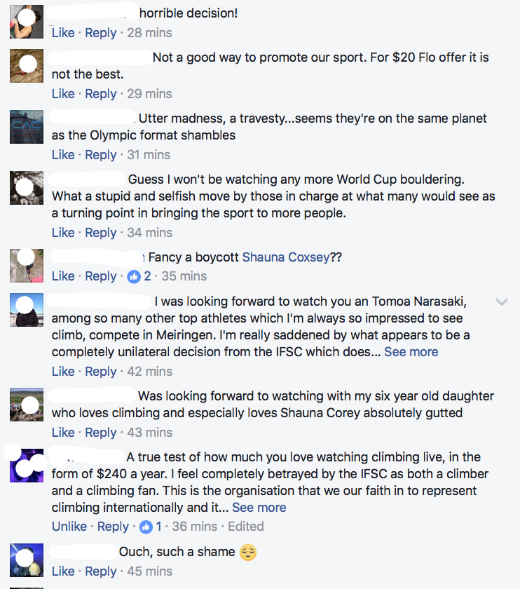 A quick glance at the comments beneath Shauna Coxey's post on Facebook gives an idea of the immediate reaction to the news from climbers across the world.