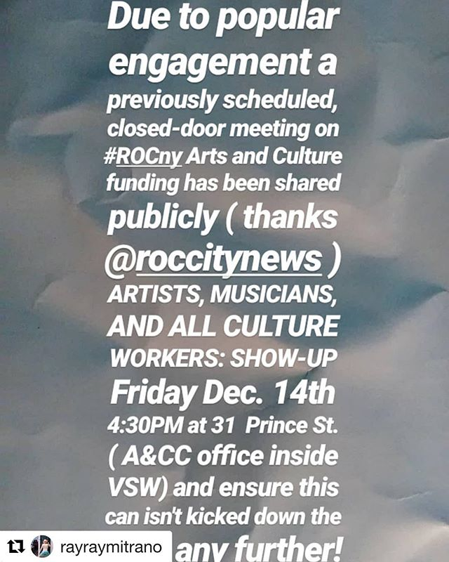 "Get out there and use your voice! #Repost @rayraymitrano ・・・ #ROCny #ArtWorkers Share this around and bring your peers, groups, studio mates, space hosts, curators, collectors, and anyone involved in our ""City of the Arts"" workplace. . See @roccitynews ""Rochester's arts support: beyond a big-show theater"" this week."