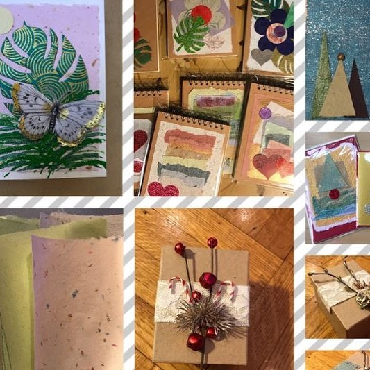 Vendor Spotlight: @sarahmariadesign is artist Sarah Perlet. She creates handmade cards, mainly using  handmade paper. Sarah will also have ornaments, gift boxes and journals! Come check out her work on December 15th from 10AM-2PM. ⠀ .⠀ .⠀ The Holiday Bazaar will take place at The Yards December 15th-16th from 10AM-2PM. Featured over the two weekends will be over 35 vendors, live music, and refreshments! Stay tuned on social media to see other vendor spotlights.⠀ .⠀ .⠀ .⠀ #craftsale #shoplocal #makersmarket #publicmarket #artspace #rochester #professionalartists #emergingartists #treatyoself #paper #paperart#handmade