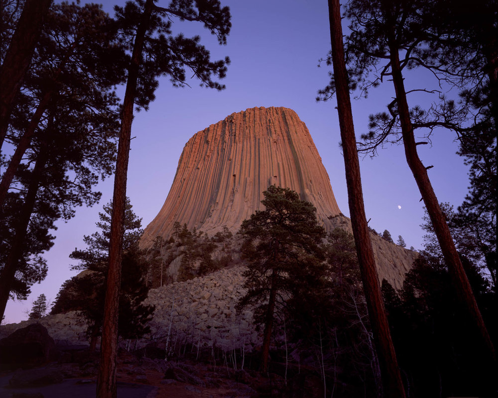 DEVILS TOWER AT DUSK