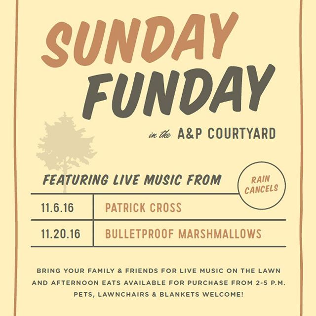 It's #sundayfunday time this Sunday 2-5pm at The A&P Courtyard! #freeevent #livemusic #montgomery #cloverdale