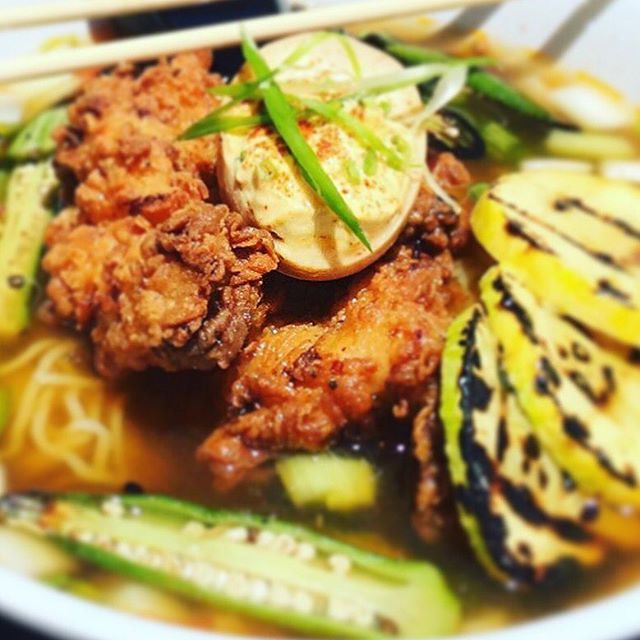 FINALLY it's #ramen weather and we've got you covered. #friedchicken #eastmeetssouth #kudzunoodlebar #ramennoodles