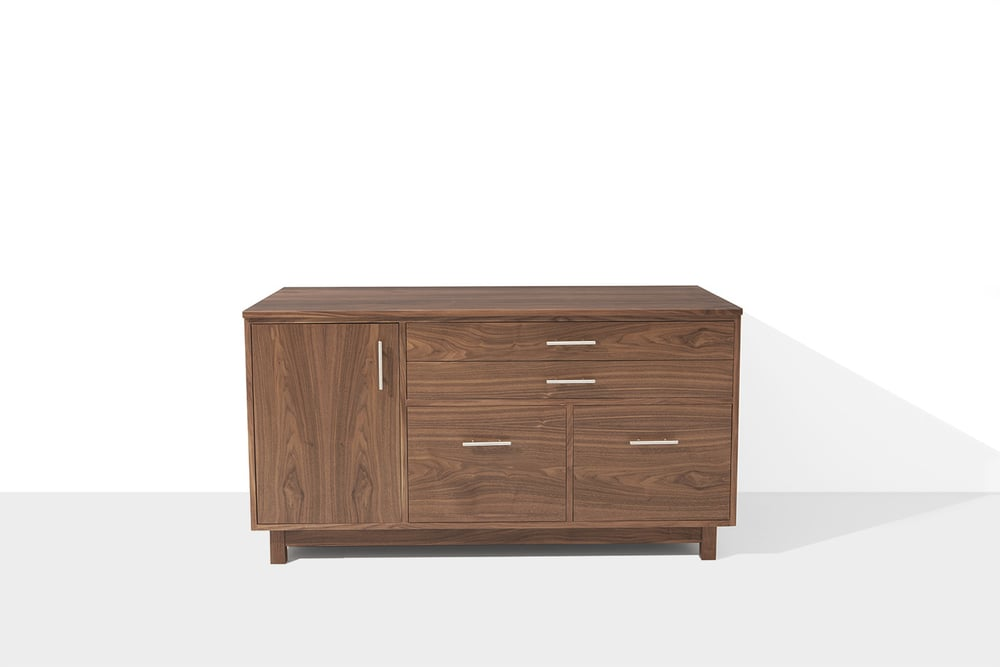 Front view walnut cabinet with file drawers