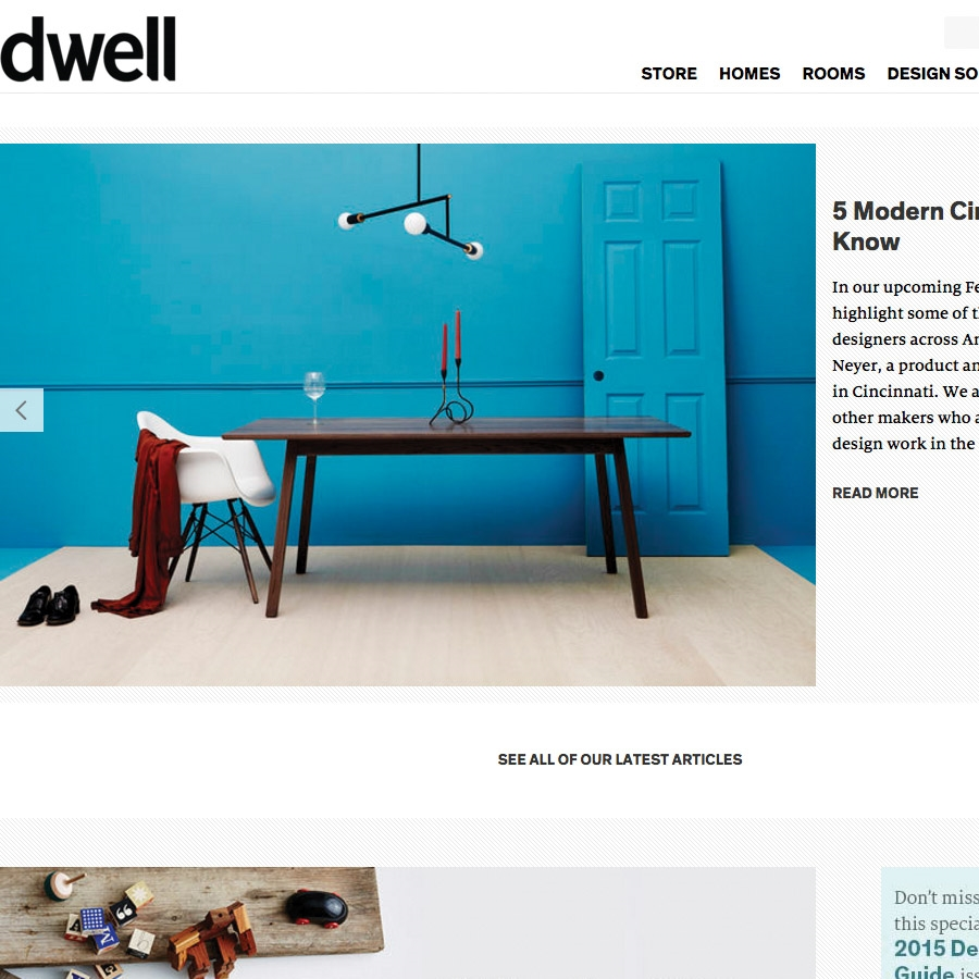 mentioned on Dwell.com for up and coming Cincinnati designers making contemporary furniture and home goods.