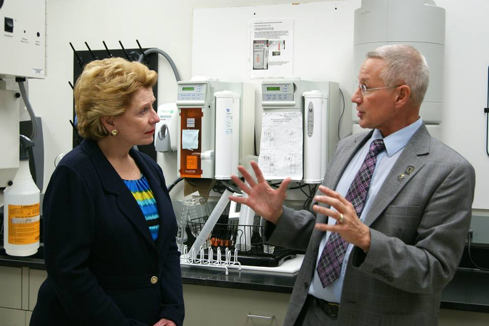 Senator Deborah Stabenow (D-MI) and Dr. Gary Dunbar during their visit