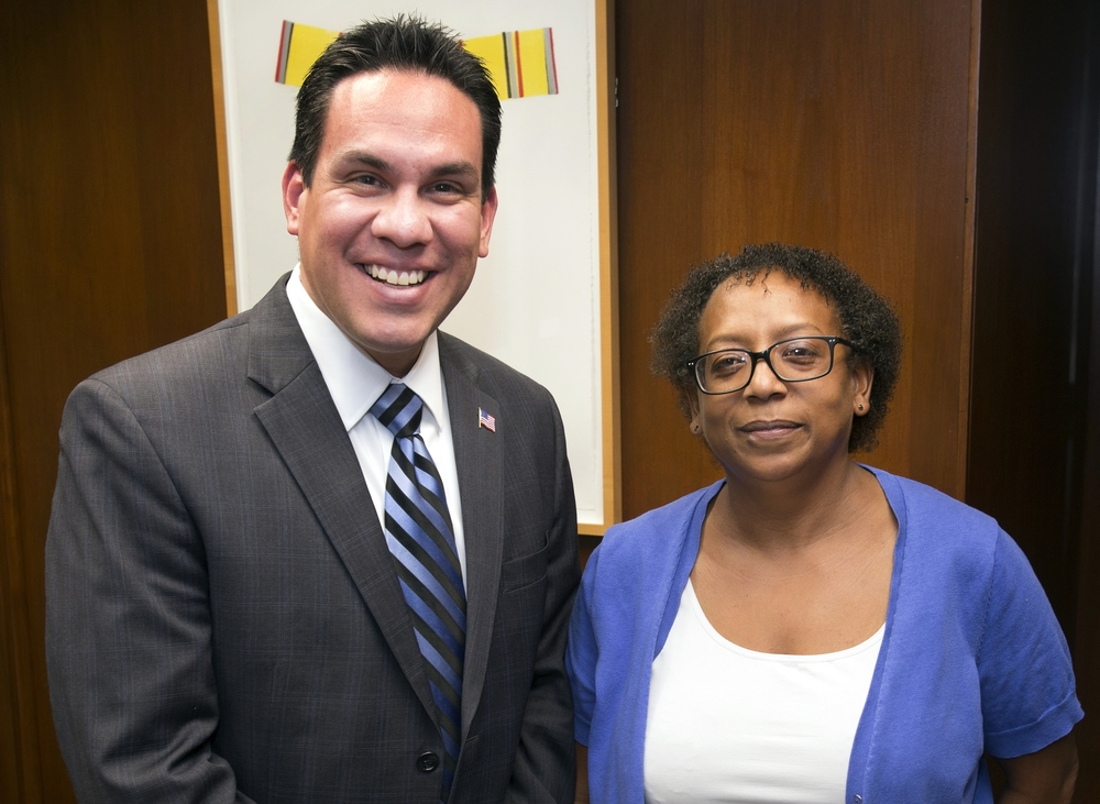 Rep. Pete Aguilar (D- CA) and Dr. Cynthia Crawford