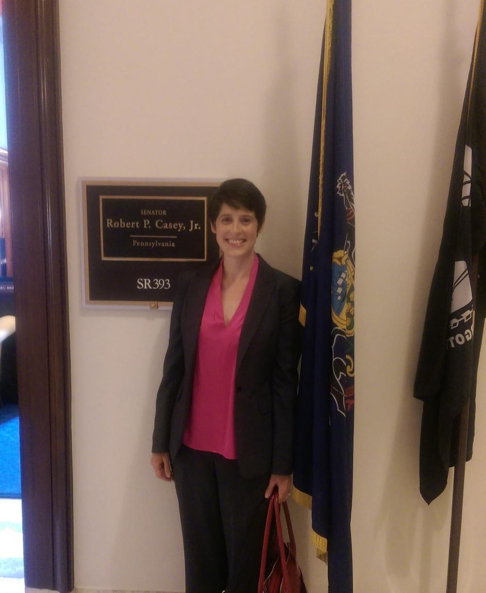 CARE member,Regina Gazes, Ph.D., after a visit with Senator Robert Casey's office.