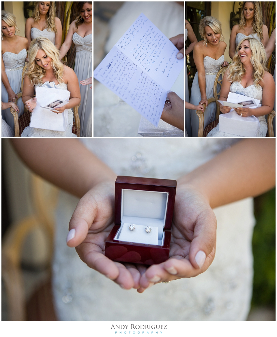 Bride receives gift from groom